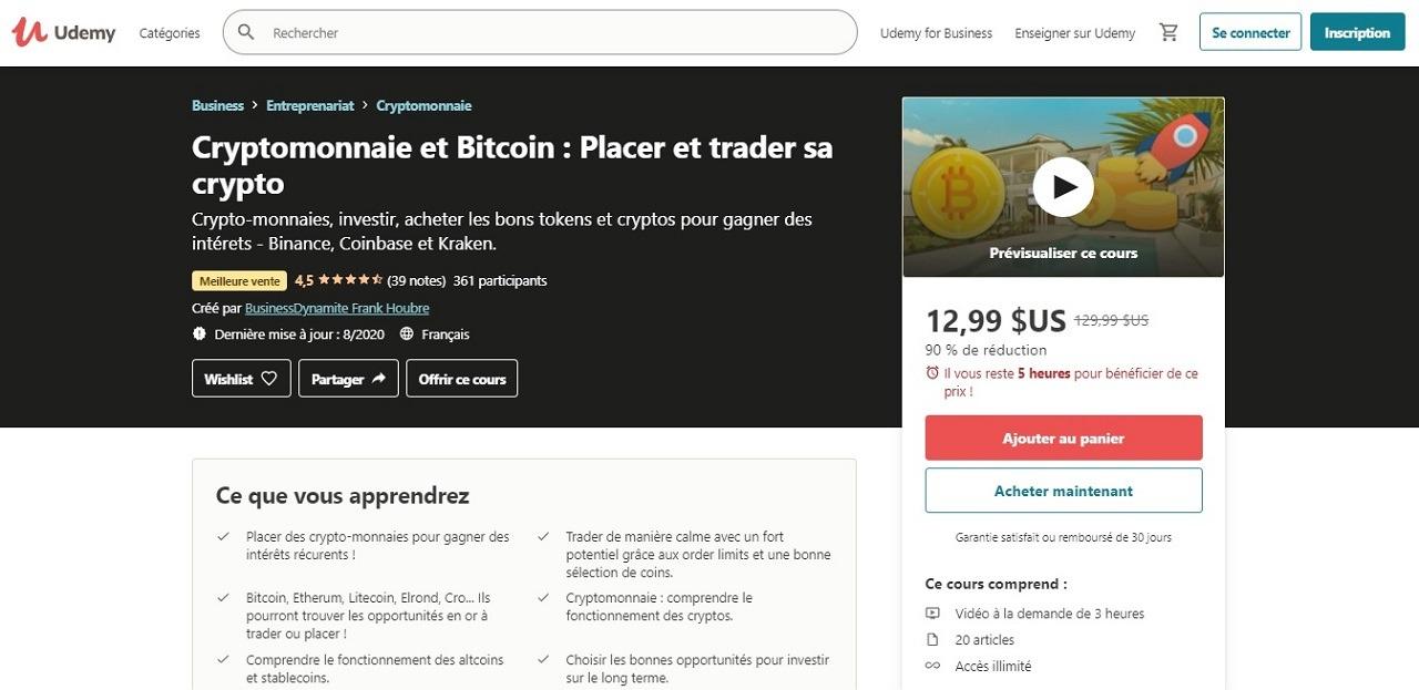 « Cryptomonnaie et Bitcoin : Placer et trader sa crypto »