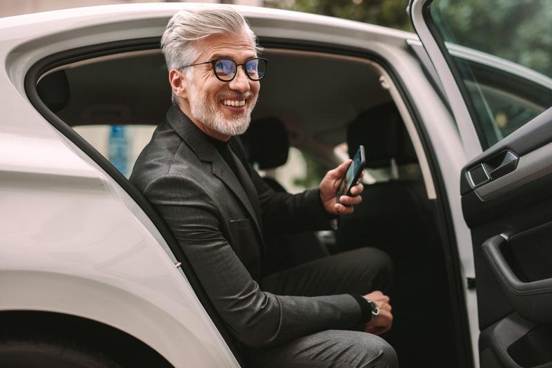 Client dans un véhicule vtc