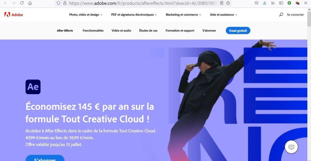 Site de Adobe After Effects