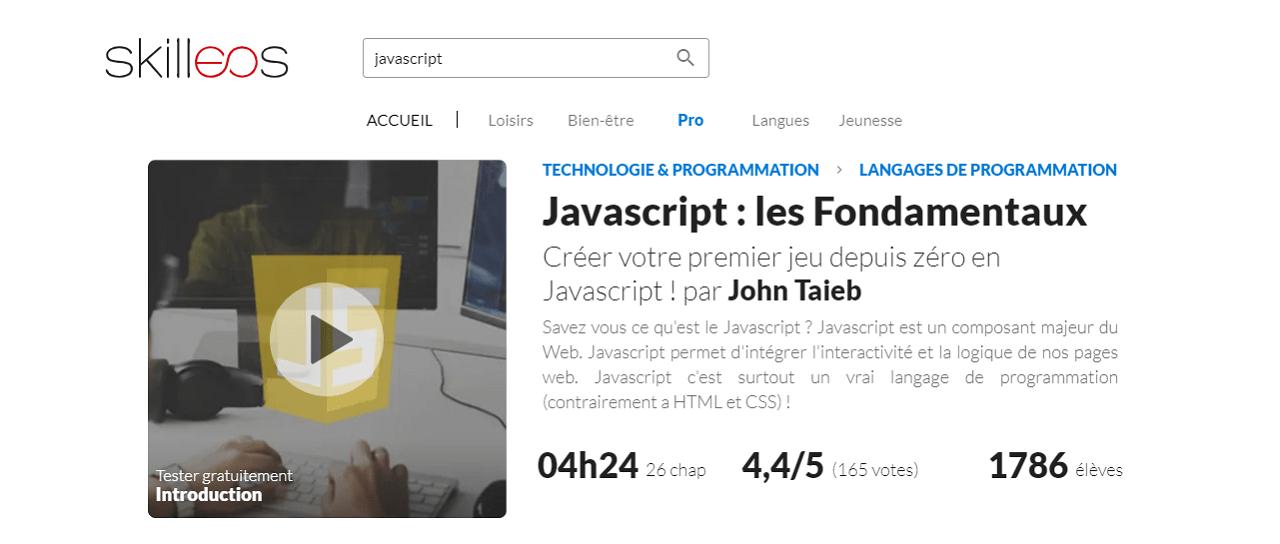 Formation en ligne JavaScript Skilleos